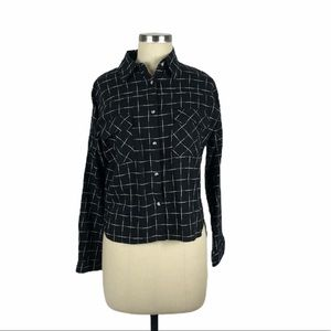 LOVE, FIRE Black White Checked Plaid Flannel S NWT
